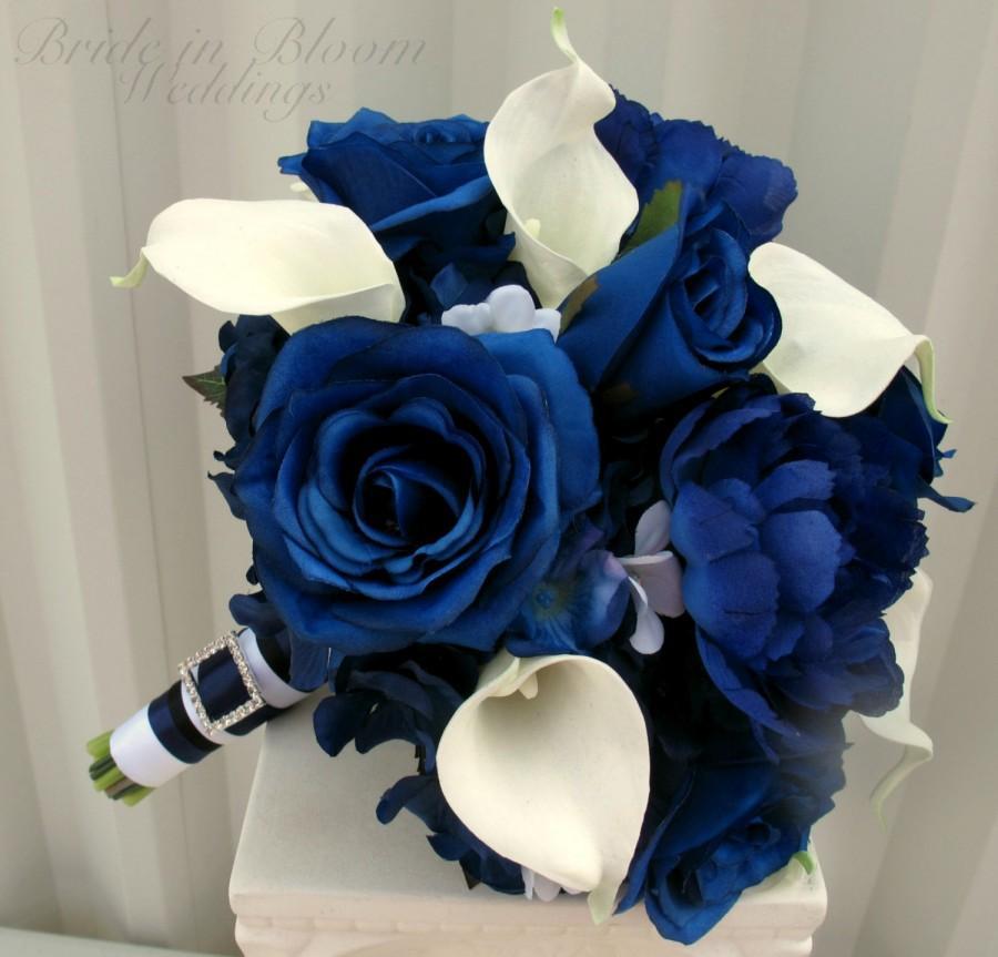 Hochzeit - Wedding Bouquet Brides bouquet real touch calla lily blue rose silk wedding flowers
