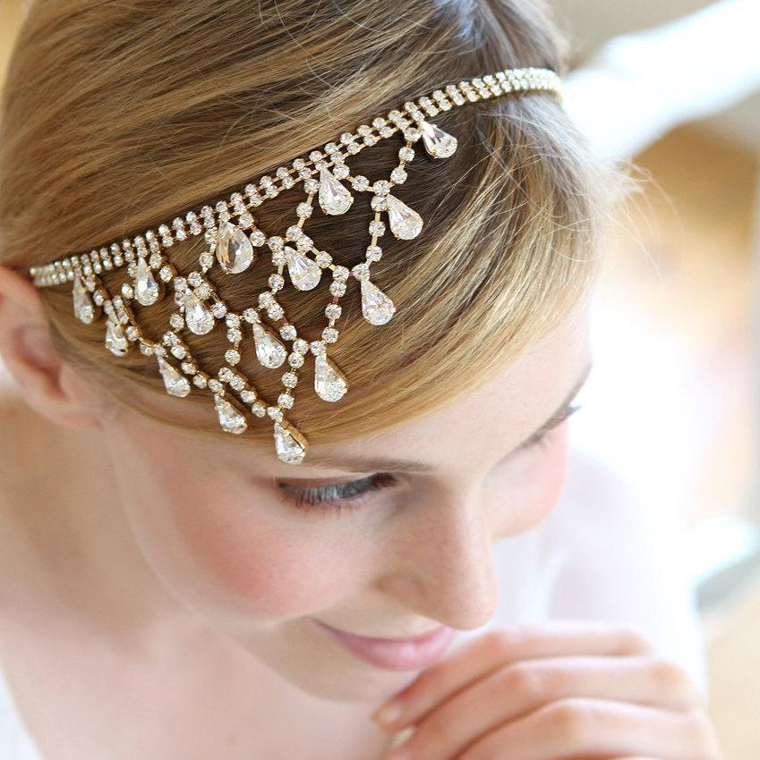 Mariage - Crystal headchain, wedding headchain, hair jewlery, rhinestone headband  - style 241
