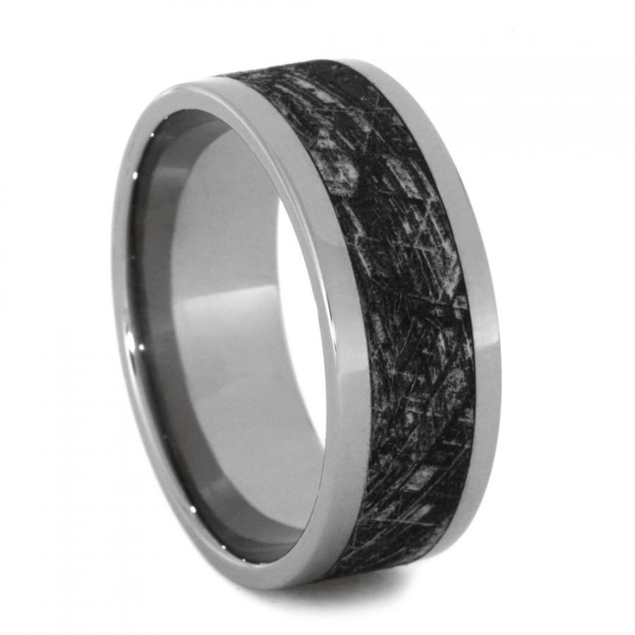 It is just a photo of Mimetic Meteorite Wedding Band, Engraved Titanium Ring With