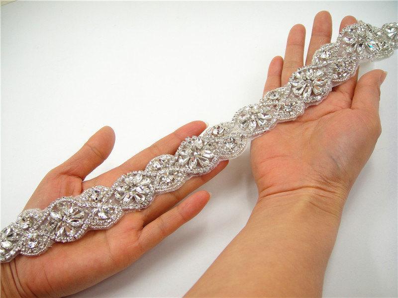 Wedding - Wedding Rhinestones Applique, Rhinetones trim for dress, sash, bridal applique, Crystal Beaded Applique, Wedding Rhinestone Applique
