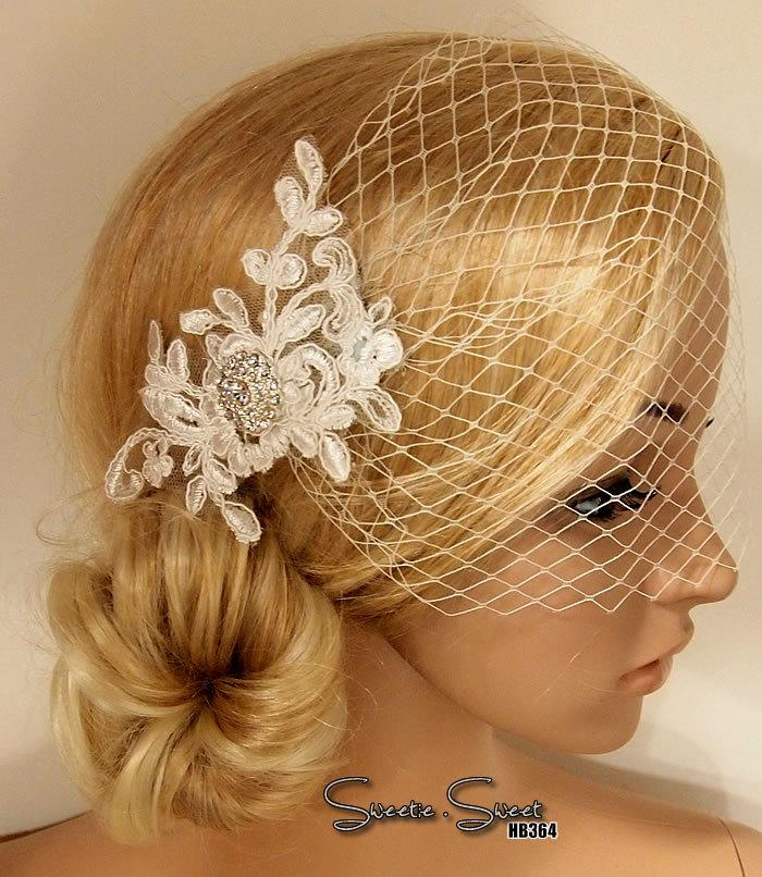 Mariage - Bridal Veil, Wedding Veil, Bridal Comb, Face Veil, Birdcage Veil, mini veil, Blusher veil, lace Flower Fascinator, Head piece