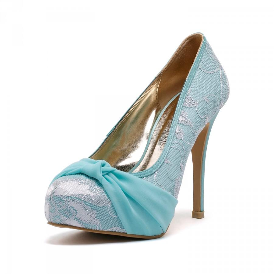 Lady Romance Something Blue Cover Toe Wedding Heels Shoes With Lace
