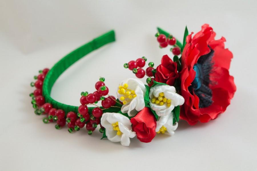 Mariage - Headband in Ukrainian style, poppy and berries, with beads, gift for girl woman, ukrainian souvenir, couronne fleur, Ukrainian wreath