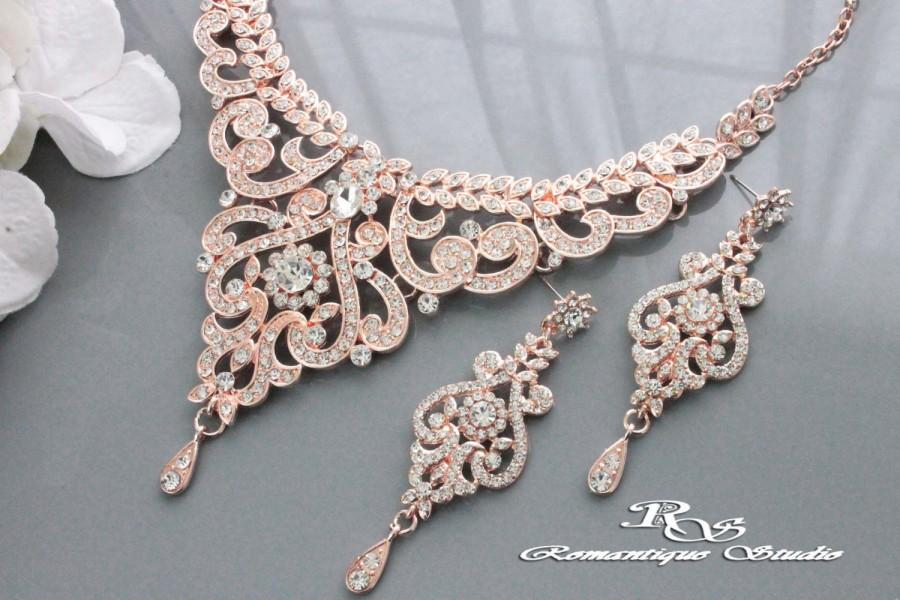 ROSE GOLD Wedding Jewelry Set Vintage Style Bridal Necklace Set