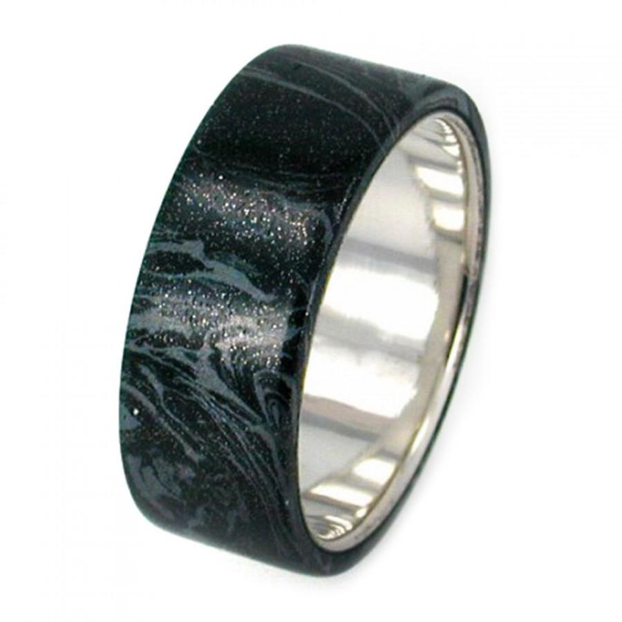 platinum ring silver and black titanium mokume gane band