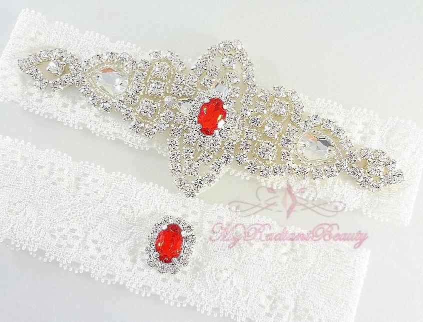 Свадьба - Bridal Garter, Wedding Garter, Crystal Applique Garter, Red Rhinestone Garter, Handmade Custom Garter, Beaded Garter GTA0056R