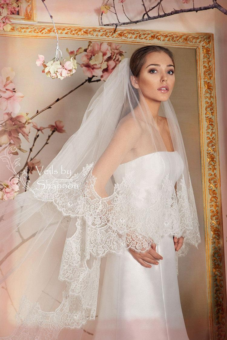 Hochzeit - Two Tiers Lace Edge Cathedral Wedding Veils With Elbow Length Blusher, Double Tiers Lace Wedding Veil, 2 Tiers Long Lace Veils  Style V4C