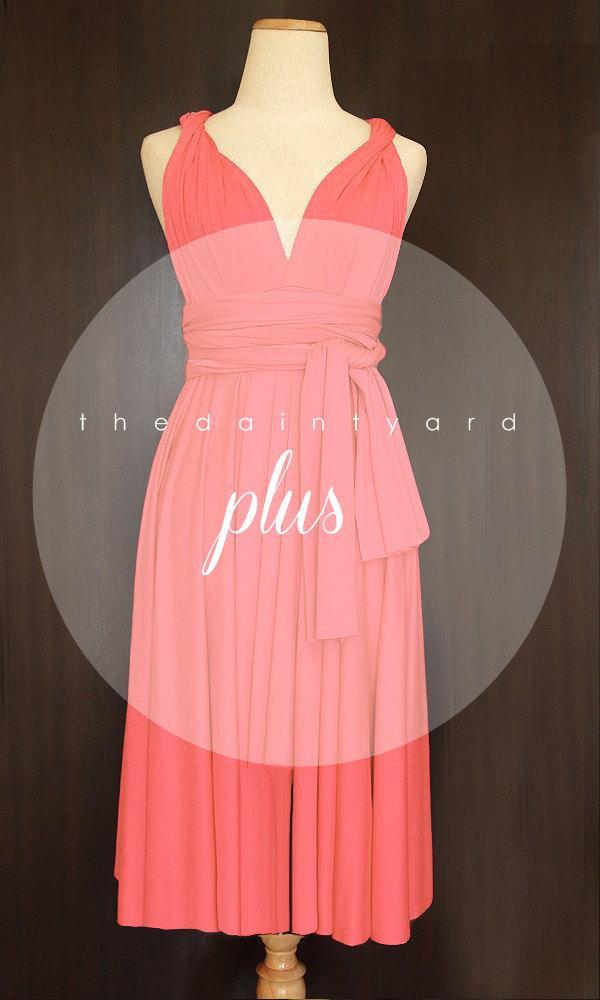 Plus Size Short Straight Hem Coral Bridesmaid Dress Convertible