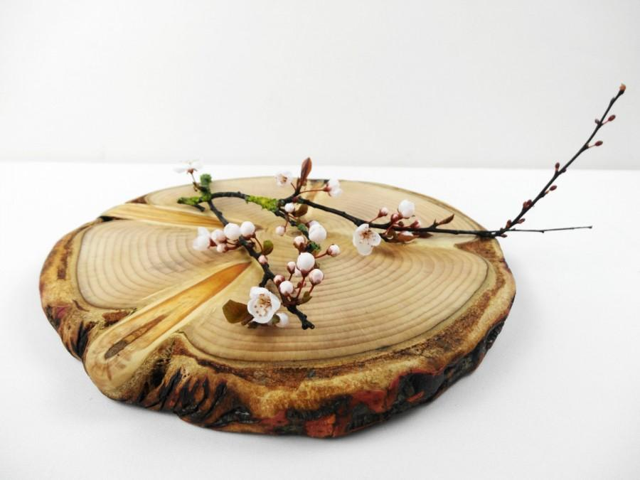 "Hochzeit - 10"" Wooden Cake Stand, Wood Slice Cake Stand, Wood Slab Cake Stand, Woodland Wedding, Rustic Wedding, Cake Stand, Tree Trunk"