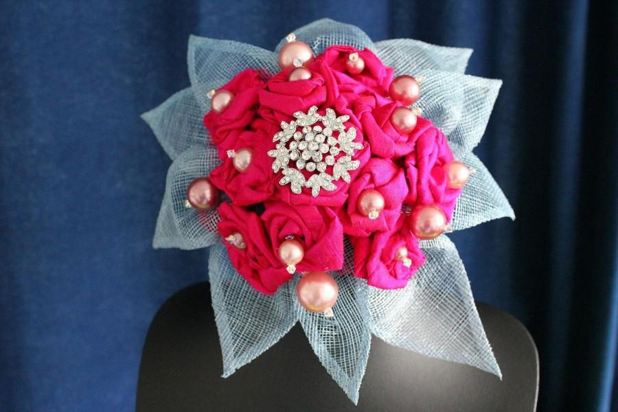 Hochzeit - Bridal bouquet stunning fuchia hot pink silk roses blue beaded handle with vintage beads
