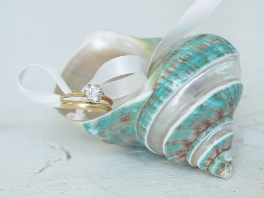 Hochzeit - Turquoise Shell Ring Pillow Wedding, Beautiful White and Turquoise Sea Inspired Ring Bearer Dish, ivory Shabby Chic Mother of Pearl, Diamond