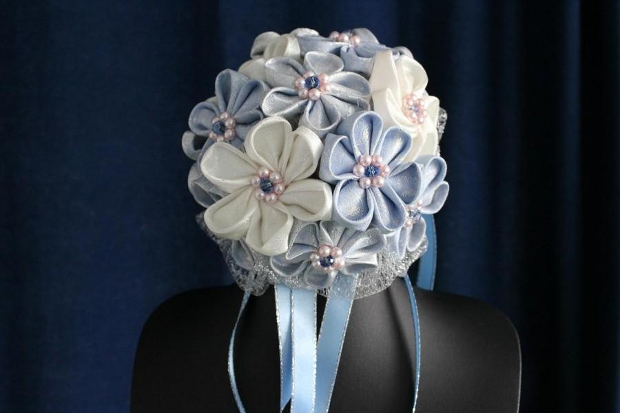 Mariage - Bridal bouquet ivory and blue/silver kanzashi fabric flowers