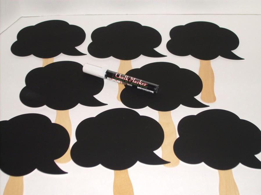 Mariage - 8 Chalkboard Speech Bubbles - Photo booth Props - Plus ONE Chalk Ink Marker