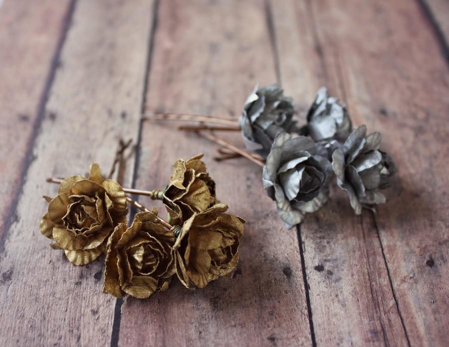زفاف - Gold Rose Flower Hair Clip, Silver Flower hair pin, Whimsical. Wedding. Fall, Autumn, Hair Accessories, Gold Wedding, Holidays Accessories
