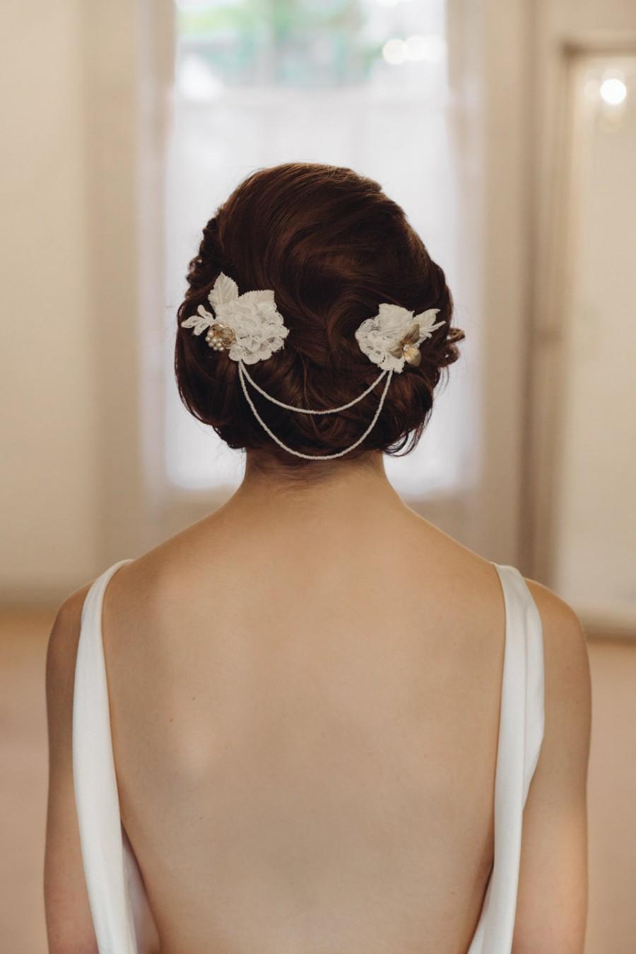 زفاف - Fern Lace and Double Leaf Beaded headpiece/hairvine