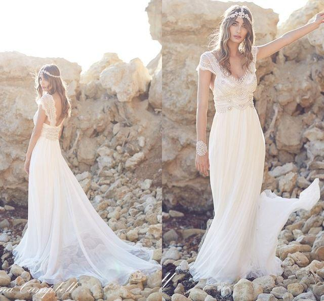 Buy boho beach wedding dress 2016 beaded for Backless boho wedding dress