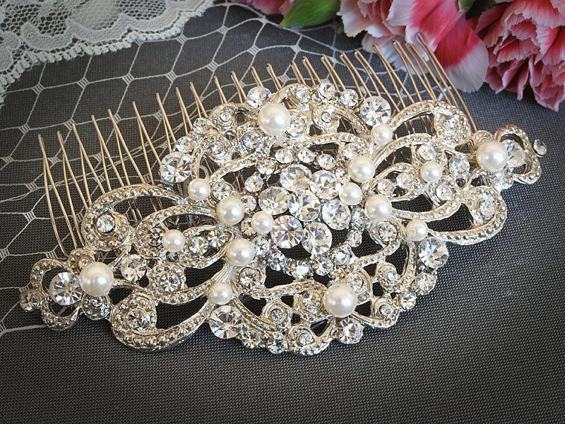 Mariage - VILANA, Victorian Wedding Hair Comb, White, Ivory, Champagne Bridal Hair Comb, Vintage Wedding Hair Accessories, Rhinestone Bridal Hairpiece