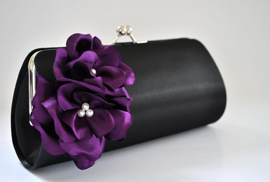 زفاف - Black and Deep Purple - Bridal Clutch -  Bridesmaids Clutch - Prom clutch - Evening Clutch