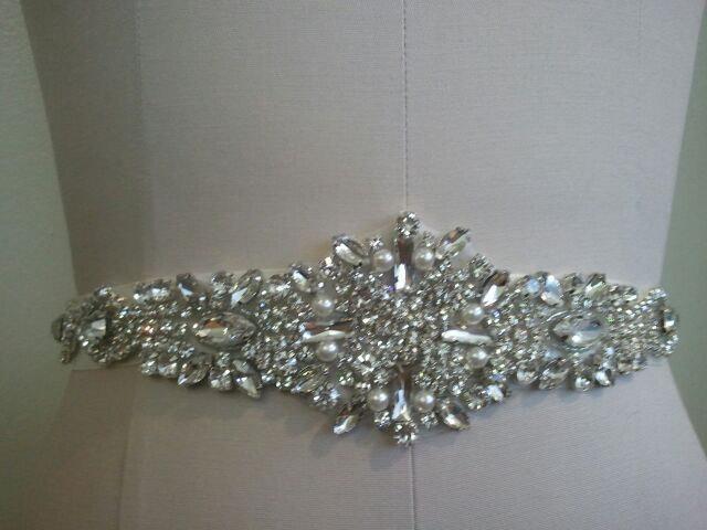 زفاف - SALE - Wedding Belt, Bridal Belt, Sash Belt, Crystal Rhinestone & Off White Pearls - Style B883