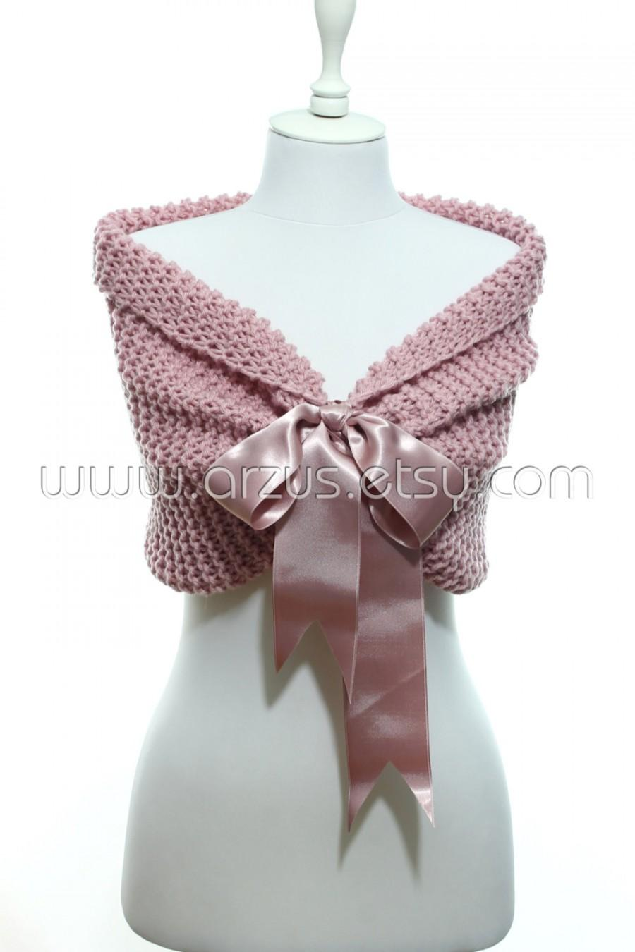 Wedding - Wedding Shawl Bridal Shawl Bridal Wedding Cape Nude Pink Shawl Hand Knit Shawl Rose Cape Wedding Capelet Shrug Bolero Bridesmaids Gift Shawl