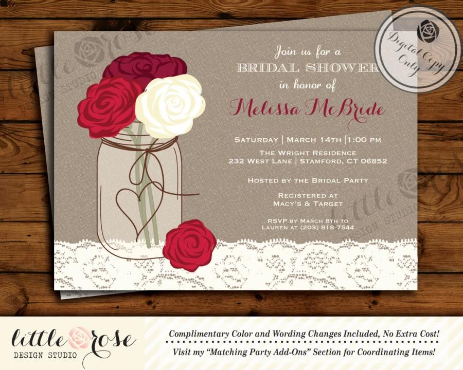 Rustic Bridal Shower Invitation - Bridal Brunch Invite - Wedding ...