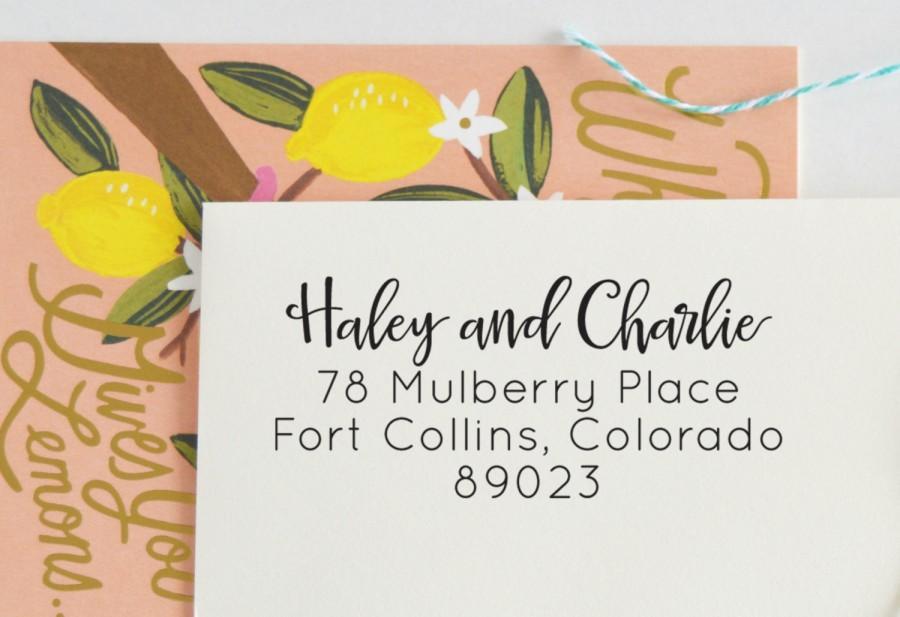 Mariage - Modern Calligraphy Address Stamp - Self Inking Address Stamp - Personalized Address Stamp - No. 81