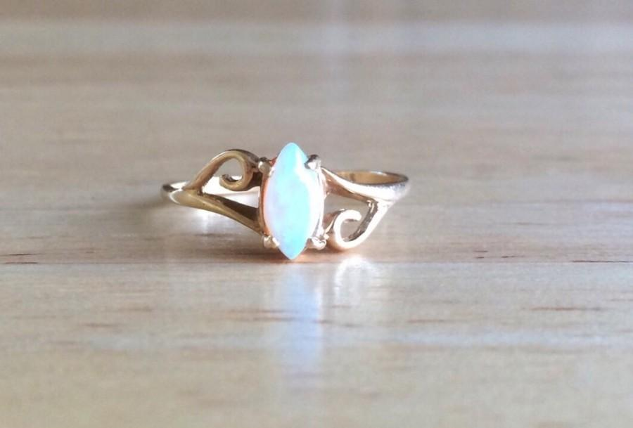 Opal Engagement Ring Vintage 14kt Yellow Gold Navette Swirl