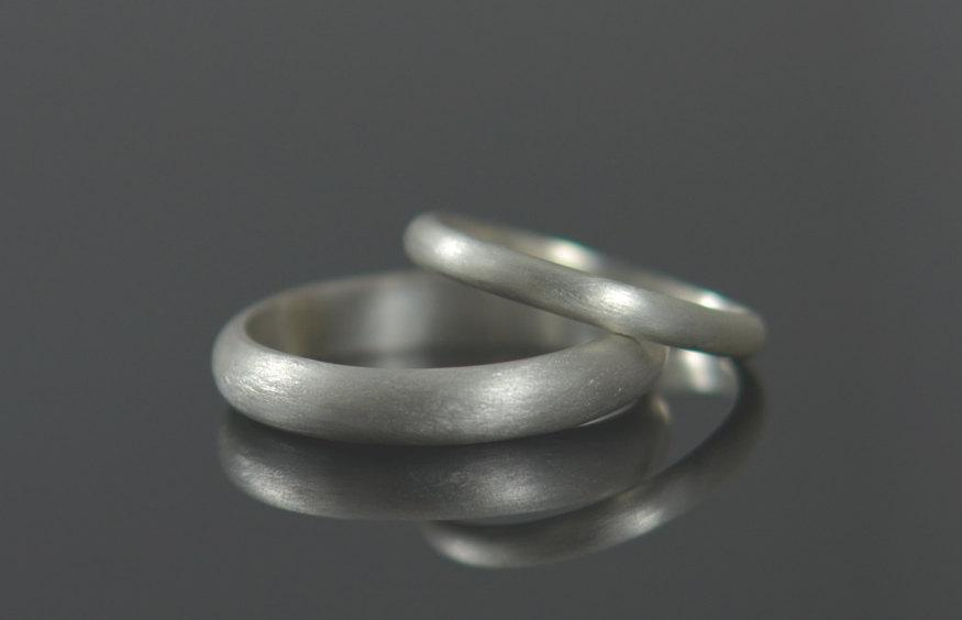Wedding - His and Hers Wedding Rings Recycled Silver Wedding Bands - Argentium Sterling Silver Half Round Ring Band Set Eco Friendly
