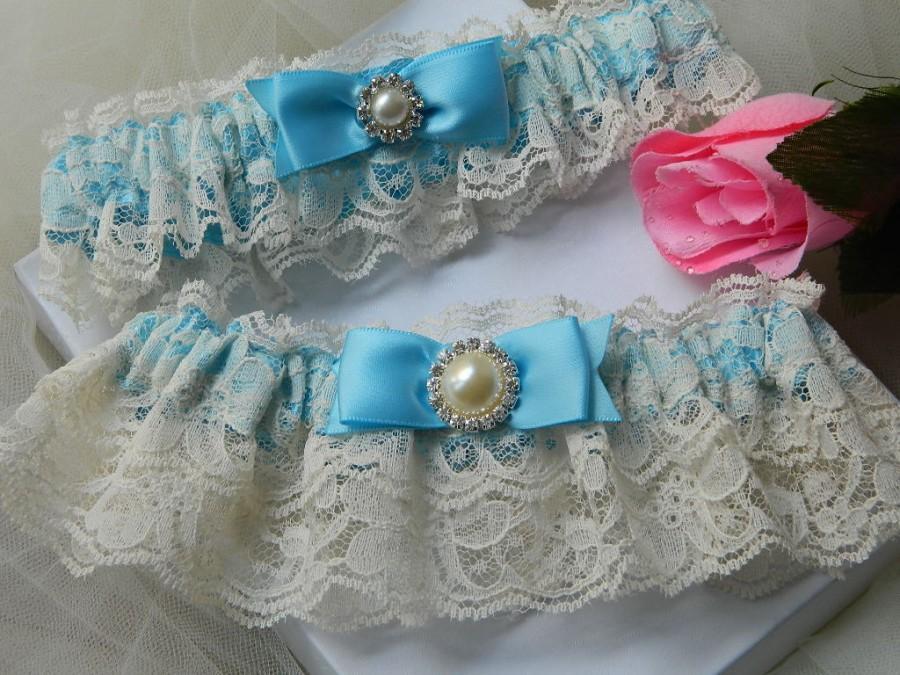 Hochzeit - Bridal Garter Set,Wedding Garter Set, Blue With And Ivory Rachel Lace Garter