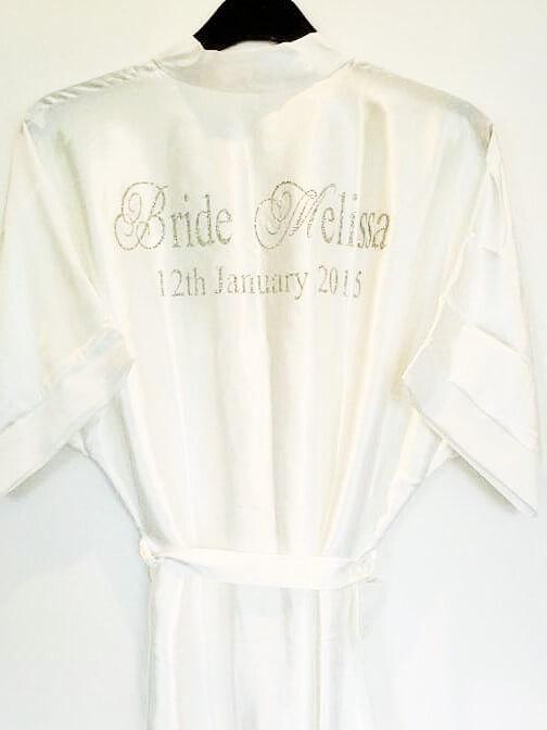 Hochzeit - Personalised Satin Wedding Robe / Dressing Gown