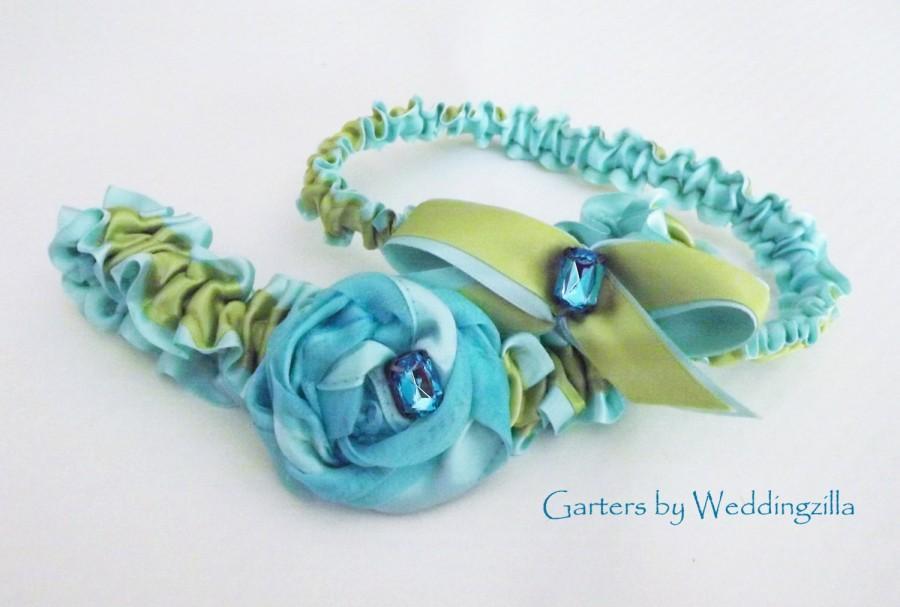 Hochzeit - Aqua Blue and Apple Green Wedding Garter Set