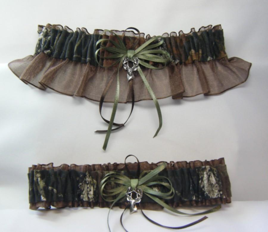 Hochzeit - MOSSY OAK Camouflage wedding garters deer Camo garter Brown