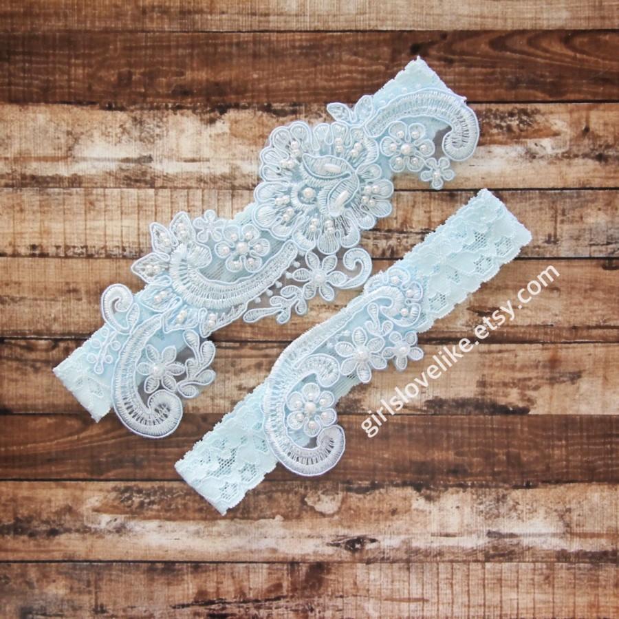 Hochzeit - Something Blue, Pearl Beaded Light Blue Lace Wedding Garter Set, Light Blue Bridal Garter, Keesake Garter, Toss Garter, GT-53B