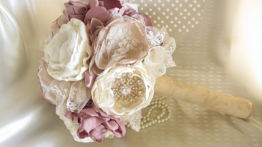 Hochzeit - Fabric  Bouquet /  Brooch Bouquet / Bridal Bouquet / The Mary-Catherine Bouquet  - Large