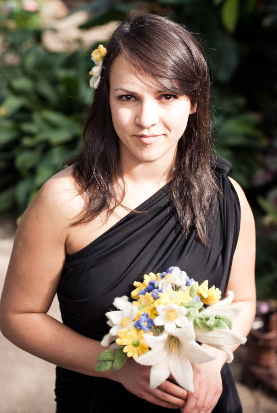 Hochzeit - Unique felt flower wedding bouquet with yellow, blue, and white flowers for your ethical wedding ceremony