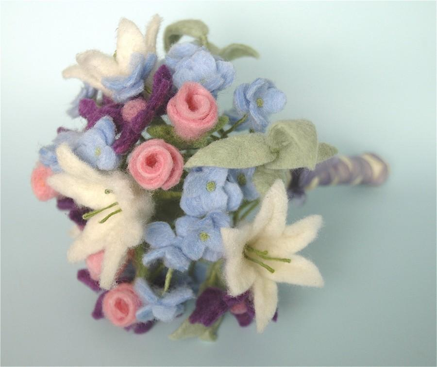 Felt Flower Wedding Bouquet With Purple White Pink And Blue Wool Flowers Ideal As Spring Or Winter Bridal