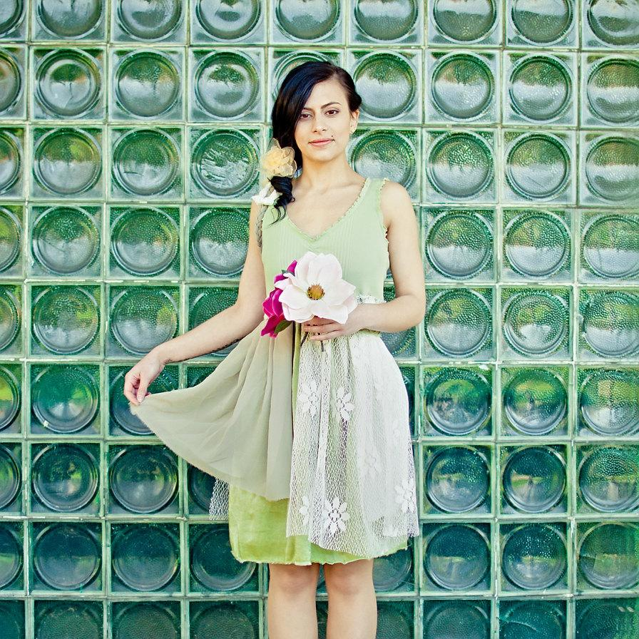 Hochzeit - Upcycled Wedding Bridesmaid Dress Cream Ivory Green Floral Print Short Tattered Repurposed Recycled Mori Girl Woodland Country