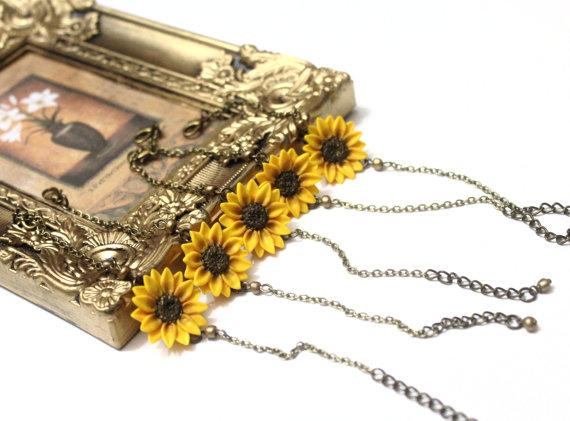 Wedding - Yellow Sunflower Bracelet set of 5, Sunflower Bracelet, Yellow Bridesmaid Jewelry, Sunflower Jewelry, Summer Jewelry set of 5