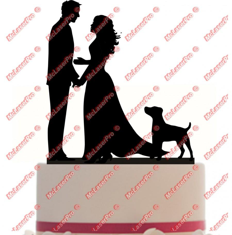 Wedding - Custom Wedding Cake Topper of a Couple with a long dress, a dog silhouette, choice of color and a FREE base for display