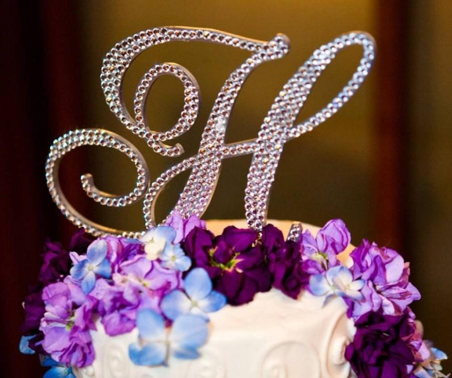 """Mariage - 5"""" Monogram Cake Topper FREE SHIPPING ANY letter from the alphabet  Swarovski Crystal  A B C D E F G H I J K L M N O P Q R S T U V W X Y Z"""