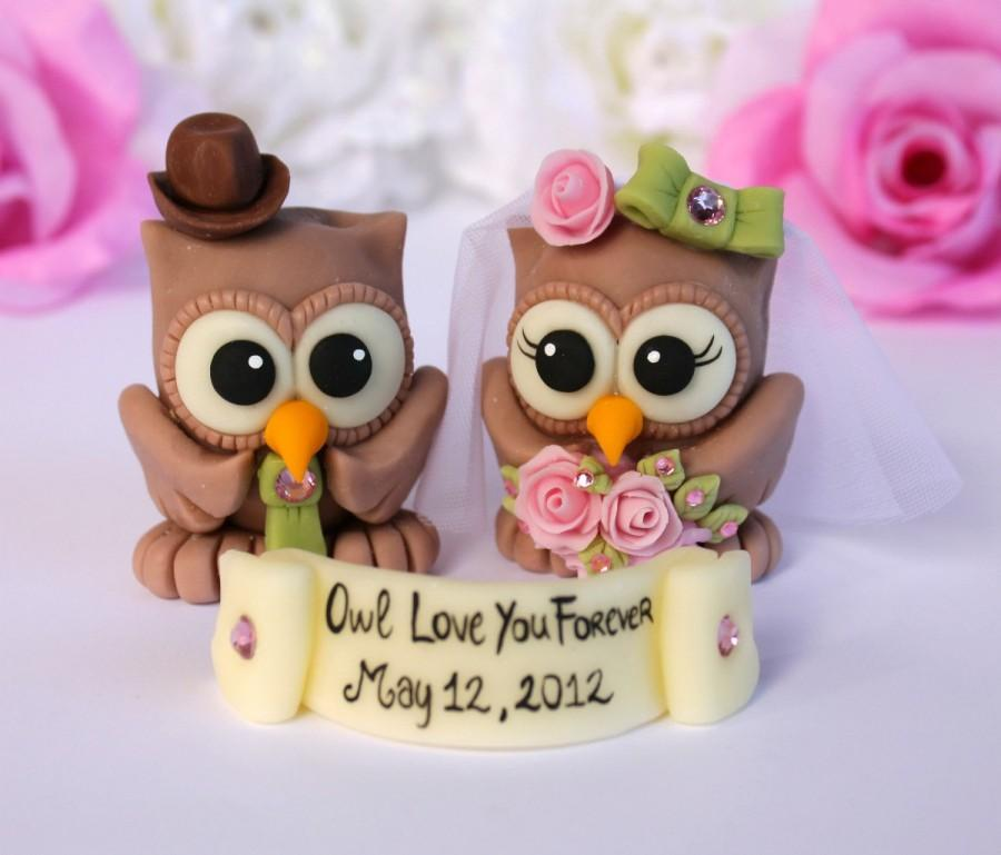 Mariage - Owl love birds wedding cake topper - customizable - banner with a sentence