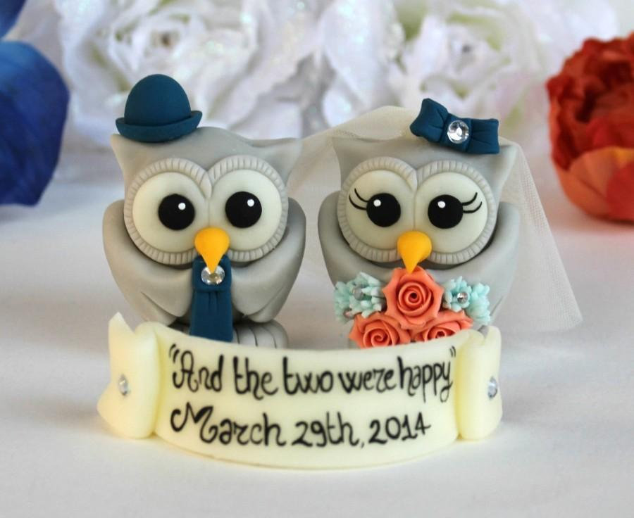 Mariage - Owl love bird wedding custom cake topper, coral navy blue wedding with personalized banner