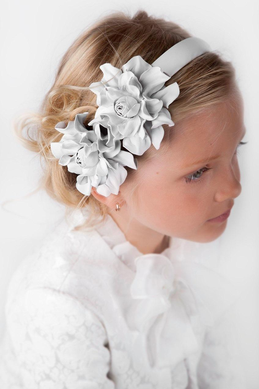 White Leather Headband With Flowers Flower Headdress Leather