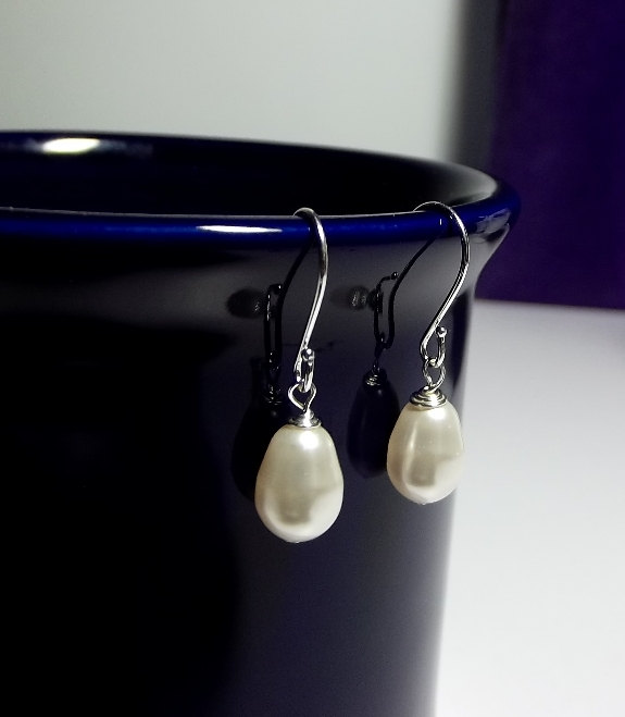 زفاف - Swarovski White Pearl Tear Drop Earrings, Mothers Day Mom Sister Grandmother Bridesmaid Wife Wedding Birthday Jewelry Gift, Christmas
