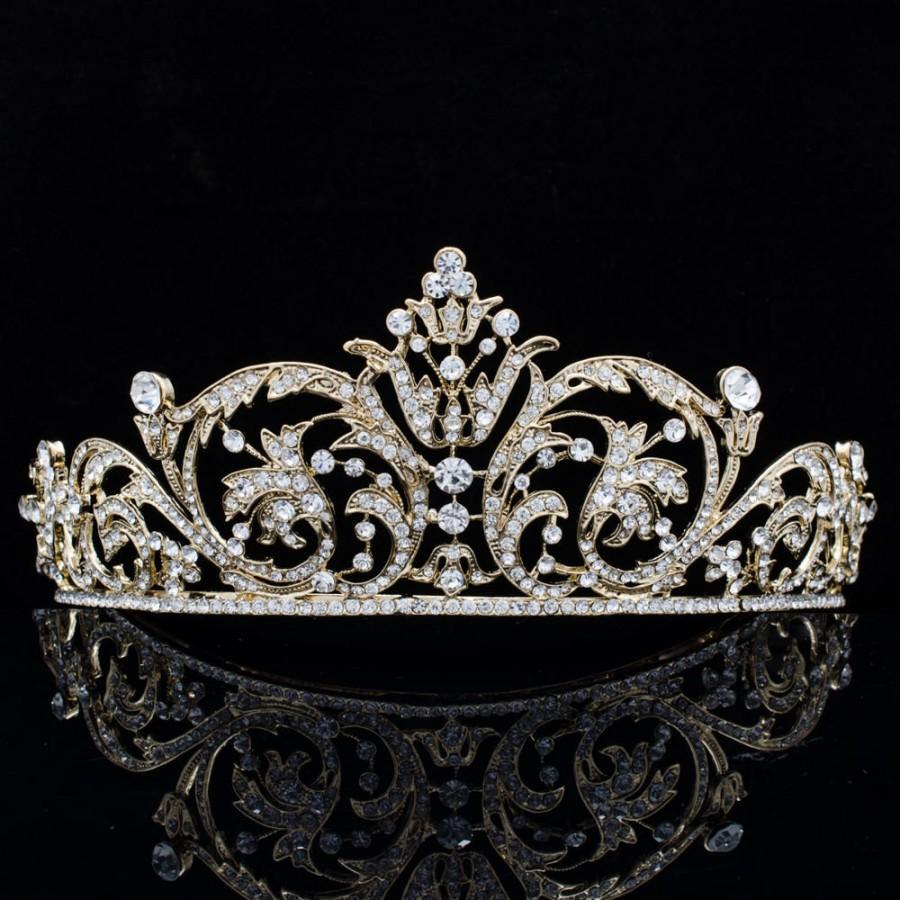 زفاف - Gold Tiaras,Wedding Crown, Europe Imperial Style Tiara Bridal Hair Jewelry,Women Hair Accessories Party Hair Decorations XBY158GCL
