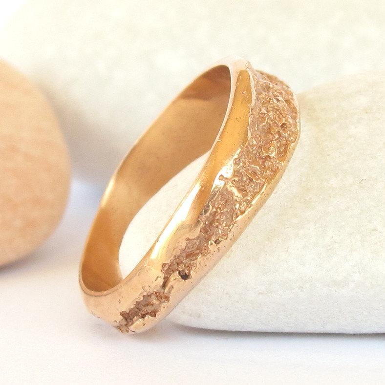 زفاف - 14k Rose Gold Organic ring - Small Creek ring in 14k solid gold - Women's Rustic ring
