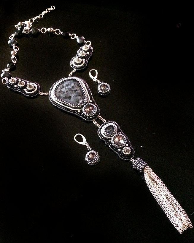 Wedding - Spike jewelry, Black statement tie necklace and earrings, spikes, swarovski jewelry, larvikite jewelry, tie for women, black pendant, tie,