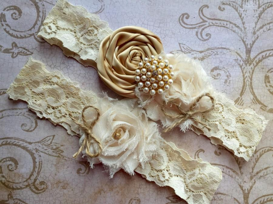 Hochzeit - Gold Wedding Garter, Rustic Wedding Garter, Rustic Garter, Wedding Garter Set, Lace Garter Set, Gold Garter, Burlap Garter, Bridal Garter