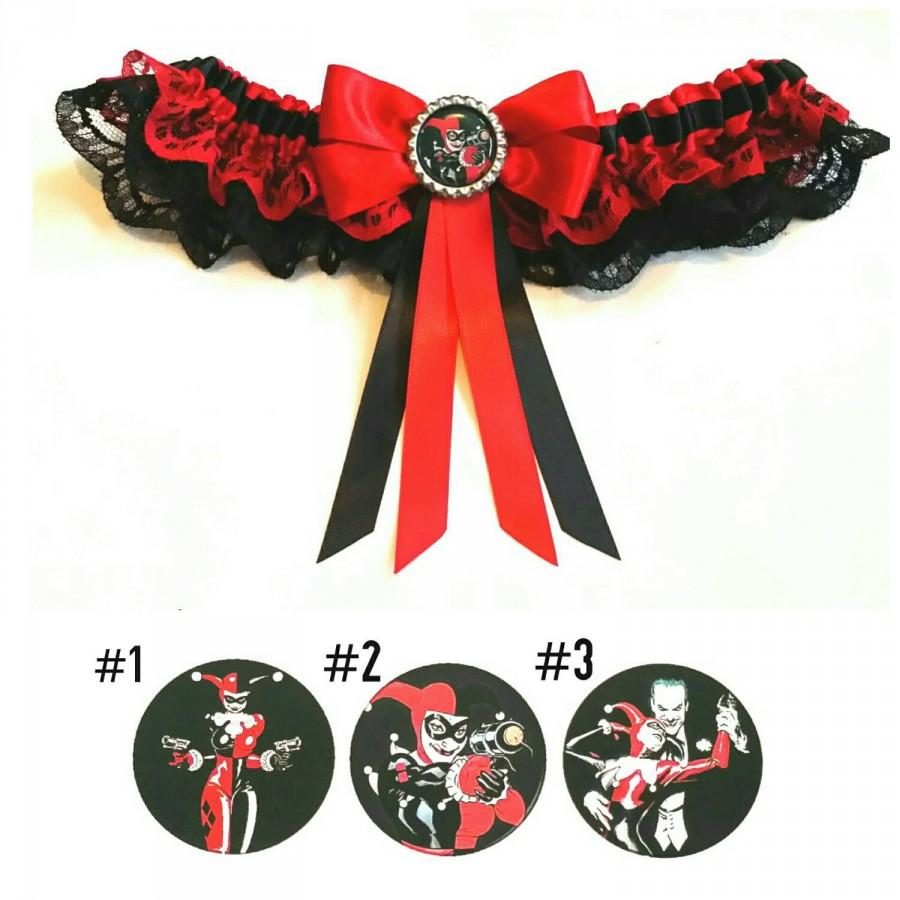 Mariage - Harley Quinn DC satin/satin frill/satin and lace garter/Garter Set - Your choice of embellishment.