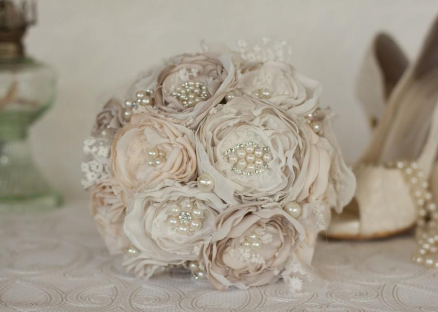 Свадьба - Vintage Inspired Brooch Wedding Bouquet, Ivory, Cream and Champagne satin, chiffon and Lace Bridesmaids Bouquet